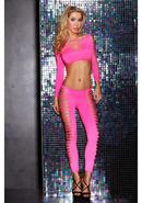 Fire Flame Crop Top And Pant - Pink
