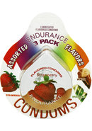 Lubricated Flavored Endurance Condoms 3 Per Pack Assorted...