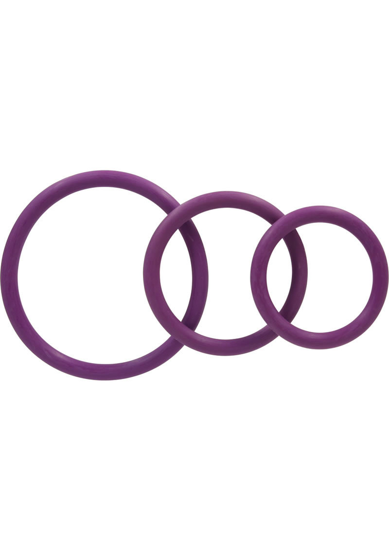 Rubber Cock Ring Set 3 Sizes Per Pack Purple